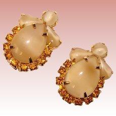 Gorgeous MOONGLOW GLASS & Amber Rhinestone Vintage Clip Earrings