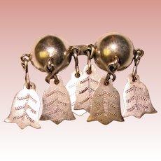 Fabulous SOLJE Antique Silver Unusual Shape Dangle Brooch