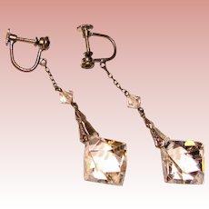Fabulous CZECH DECO Faceted Crystal Dangle Earrings