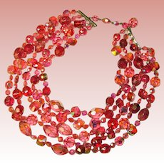 Fabulous PINK AURORA CRYSTAL & Glass Vintage 5 Strand Necklace