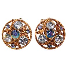 Gorgeous BLUE Rhinestone Aurora Vintage Clip Earrings