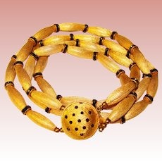Fabulous BLACK RHINESTONE Textured Beads Vintage Necklace
