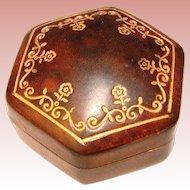 Gorgeous Old Embossed Leather Trinket Box