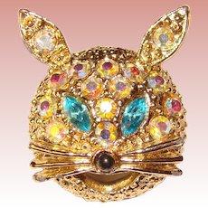 Sassy CAT Vintage Rhinestone Brooch