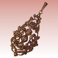 Fabulous STERLING & MARCASITE Vintage Ornate Pendant