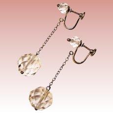 Fabulous ART DECO Sterling Crystal Dangle Earrings