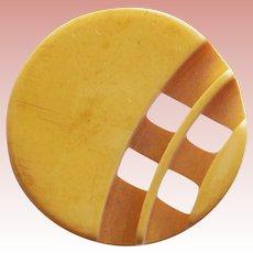 Gorgeous BAKELITE Carved Front & Reverse Vintage Button - Amber Butterscotch Color