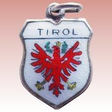 800 Silver & Enamel TIROL Vintage Estate Charm - Souvenir of Austria