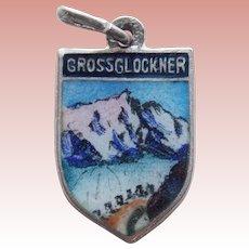 800 Silver & Enamel GROSSGLOCKNER Vintage Estate Charm - Souvenir of Austria