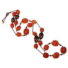 Fabulous ART DECO Carnelian Glass Vintage Necklace