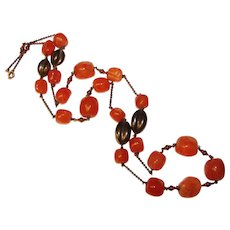 Fabulous ART DECO Carnelian Glass Vintage Necklace