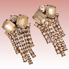 Fabulous FROSTED GLASS Vintage Rhinestone Dangle Clip Earrings