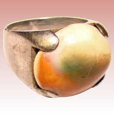 Awesome STERLING OPERCULUM Shell Vintage Estate Ring