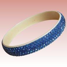 Fabulous ART DECO Celluloid & Blue Rhinestone Vintage Bangle Bracelet