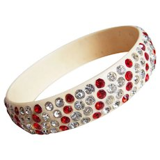 Fabulous ART DECO Celluloid & Red Clear Rhinestone Vintage Estate Bangle Bracelet - Stripe Pattern
