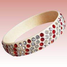 Fabulous ART DECO Celluloid & Red Clear Rhinestone Vintage Estate Bangle Bracelet - Stripe Pattern