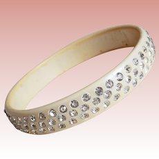 Fabulous ART DECO Celluloid & Clear Rhinestone Vintage Estate Bangle Bracelet