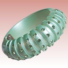 Gorgeous PLASTIC & RHINESTONE Minty Green Vintage Bracelet - Hinged Clamper