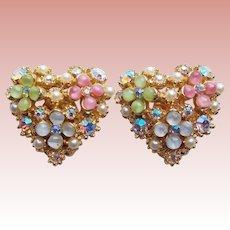 Gorgeous Signed ART Glass & Rhinestone Vintage Heart Earrings