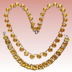 Fabulous ART DECO STERLING Citrine Colored Glass Necklace Bracelet Set - Open Backed Stones