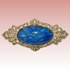Fabulous ART DECO Era Blue Glass Rhinestone Brooch