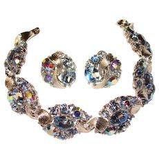 Fabulous LISNER Blue Rhinestone Vintage Bracelet Set