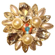 Fabulous JUDY LEE Signed Geometric Shapes Rhinestone Brooch