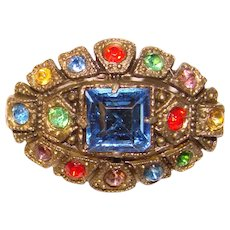 Small Vintage Colored Glass Stones Mini Brooch - For Doll or Lapel