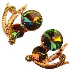 Fabulous Vintage WATERMELON RIVOLI Rhinestone Clip Earrings