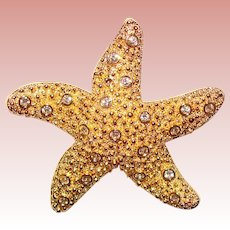 Swarovski STARFISH Signed Rhinestone Brooch - Swan Mark