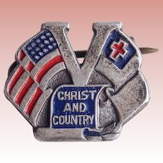 WWII 1940s Sterling Victory Christ & Country Vintage Sweetheart Pin