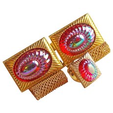 Gorgeous RED CARNIVAL Poured Glass Mesh Wrap Vintage Cufflinks Set