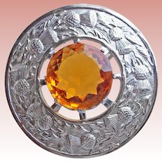 "Fabulous HUGE 3 1/4"" Amber Glass Stone Thistle Vintage Kilt or Sash Pin Brooch - English Great Britain"