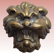 Gorgeous LION FACE Antique Brass Button - Figural