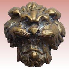 Gorgeous LION FACE Antique Brass Button - Figural