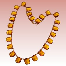 Fabulous ART DECO Amber Glass Open Back Stones Necklace
