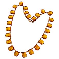 Fabulous ART DECO Amber Glass Open Back Stones Necklace