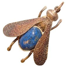 Fabulous STERLING & LAPIS Stone Winged Insect Vintage Pendant