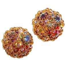 Fabulous Huge Multi Color Aurora Rhinestone Vintage Clip Earrings