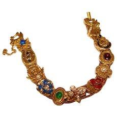 Fabulous GOLDETTE Jeweled Vintage Slide Bracelet