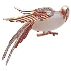 Fabulous CORO CRAFT Sterling Jelly Belly Lucite & Rhinestone Bird Vintage Brooch - Corocraft Signed