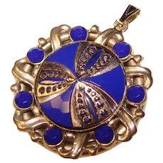 Fabulous BLUE GLASS Stones Vintage Pendant