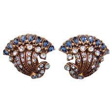 Fabulous HOLLYCRAFT Blue Rhinestone Vintage Clip Earrings - Copr. 1954
