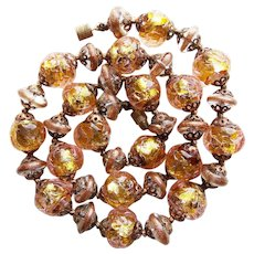 Fabulous FOIL GLASS & Venetian Murano Italian Beads Vintage Necklace