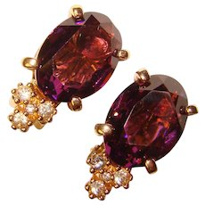 Gorgeous CHRISTIAN DIOR Purple Rhinestone Clip Earrings