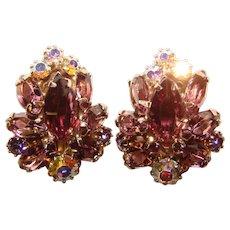 Fabulous WEISS Purple & Aurora Rhinestone Vintage Clip Earrings