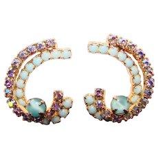 Fabulous AQUA GLASS & Aurora Rhinestone Vintage Clip Earrings