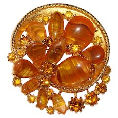 Fabulous ART Signed Swirled Amber Glass Rhinestone Brooch