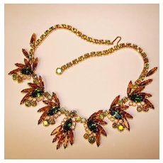 Fabulous D&E JULIANA Topaz Green Aurora Vintage Rhinestone Necklace