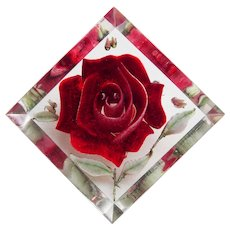 Gorgeous CARVED LUCITE Red Rose Vintage Estate Pin Brooch